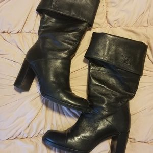 Chanel leather pull on boots